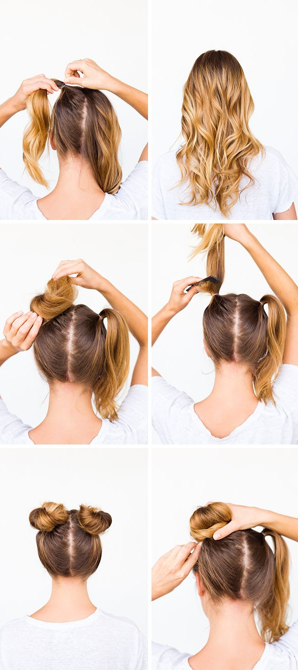 Two Buns Are Better Than One: Double Bun Hair Tutorial With Recent Messy Bun Hairstyles With Double Headband (View 2 of 20)