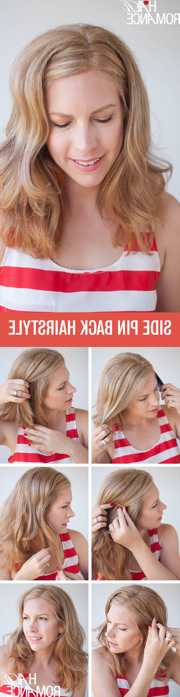 Two Easy Ways To Pin Back Your Hair – Hair Romance Regarding Well Known Pinned Back Side Hairstyles (View 6 of 20)