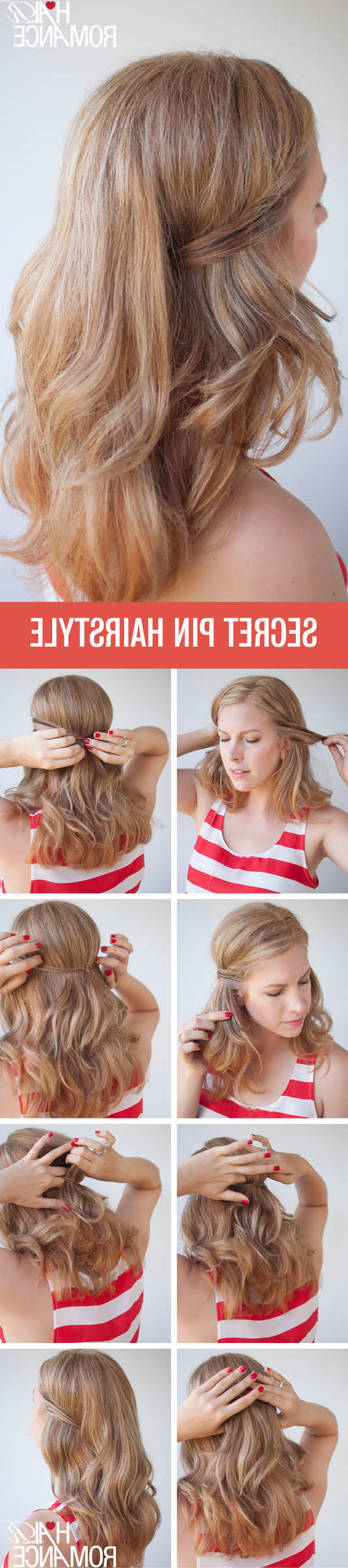 Two Easy Ways To Pin Back Your Hair – Hair Romance Within Recent Pinned Back Side Hairstyles (Gallery 8 of 20)