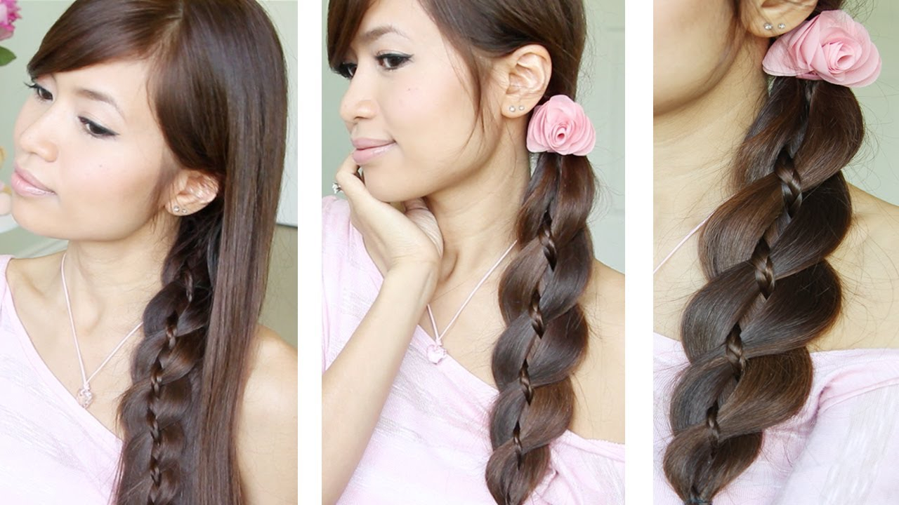Unique 4 Strand Braid (Braid In Braid) Hairstyles For Medium Long Hair  Tutorial Intended For Trendy Three Strand Long Side Braided Hairstyles (View 18 of 20)