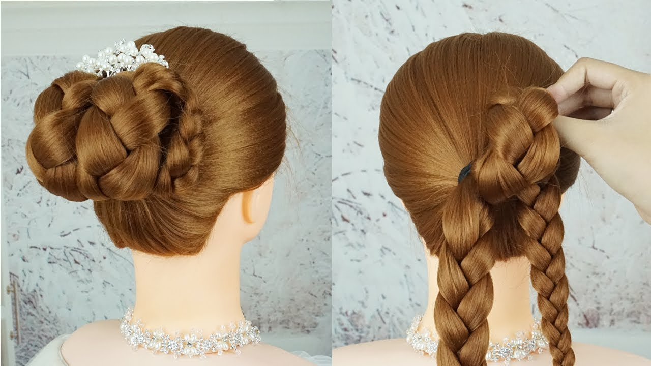 Updo Braid Hairstyles Wedding – Mini Braid Wrapped High Bun (View 18 of 20)