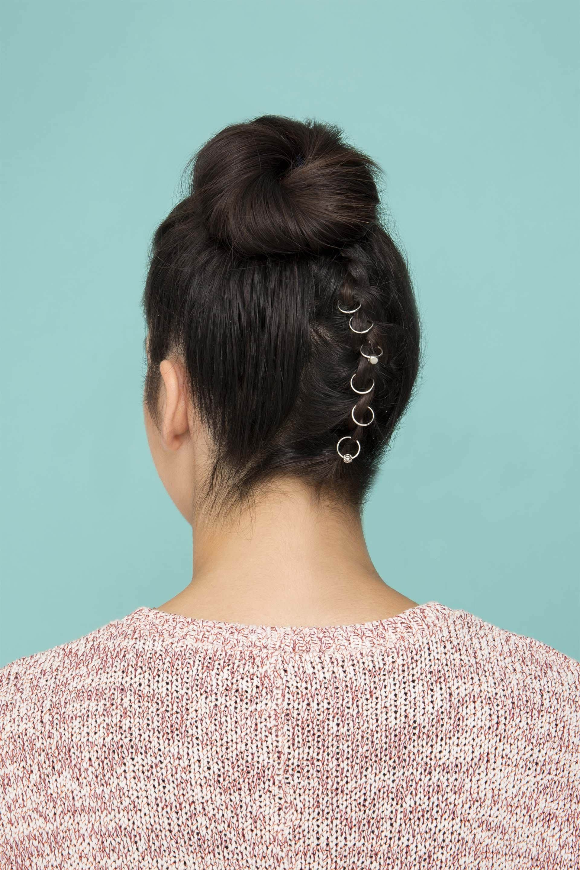 Upside Down French Braid Bun: Blinged Out Braid For The Holidays Pertaining To Most Recently Released Blinged Out Bun Updo Hairstyles (View 19 of 20)