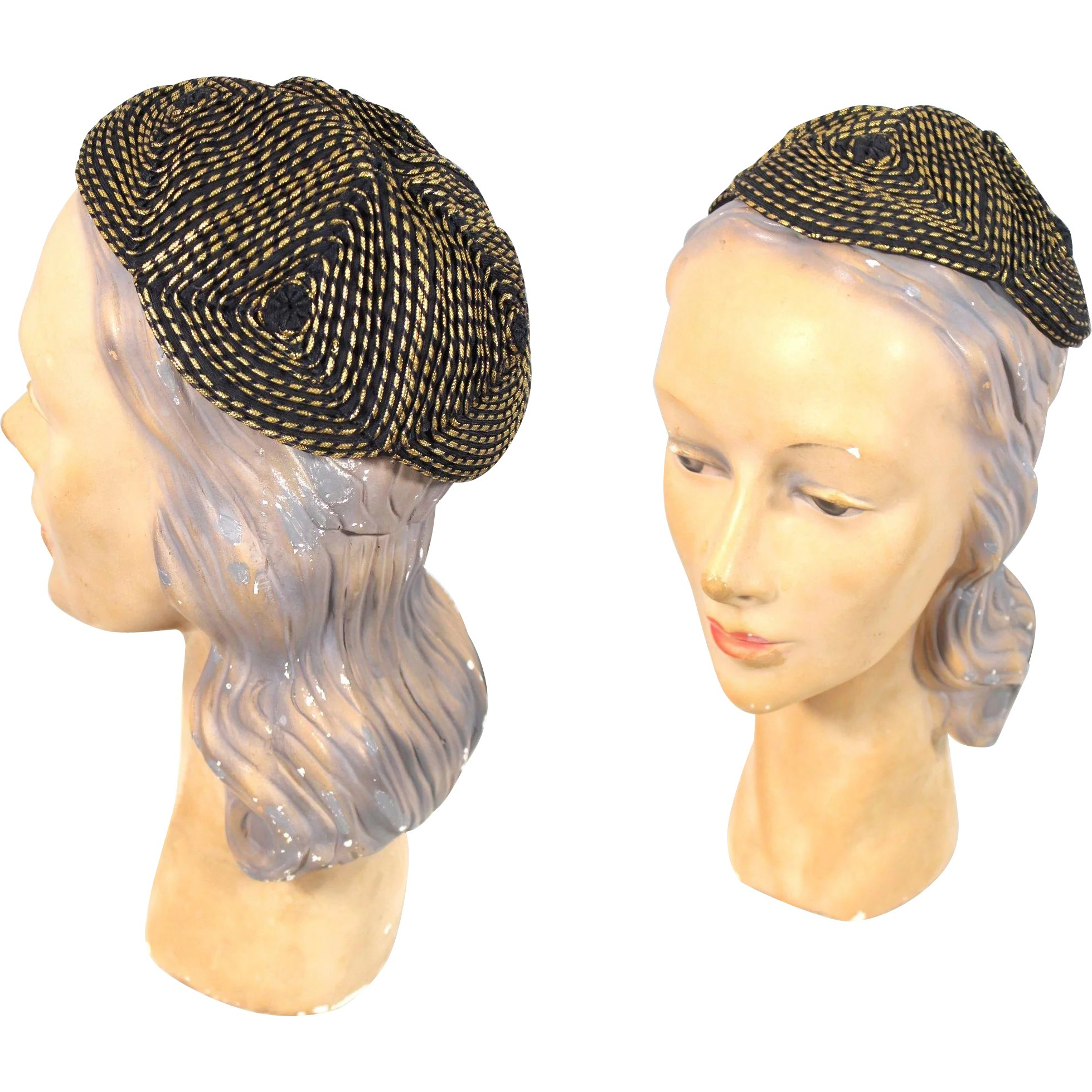 "Vintage 1940s Cord & Lamé Evening ""clover"" Calot Juliet Or Skull Cap Intended For Trendy Gold Toned Skull Cap Braided Hairstyles (View 12 of 20)"