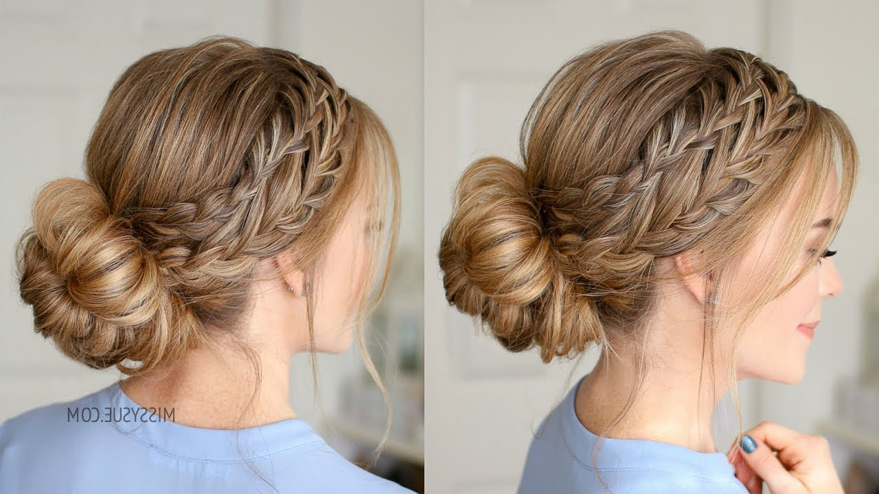 Waterfall French Braid Low Bun (Gallery 8 of 20)