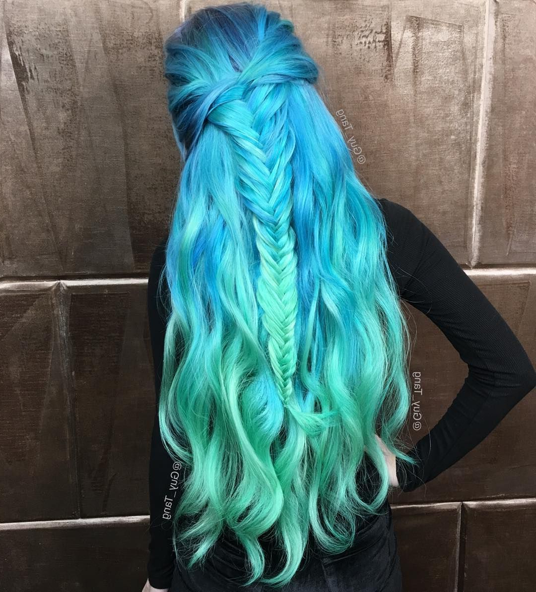 Wavy Mermaid Teal Blue & Aquamarine Green Hair With Fishtail With Latest Cotton Candy Colors Blend Mermaid Braid Hairstyles (View 16 of 20)