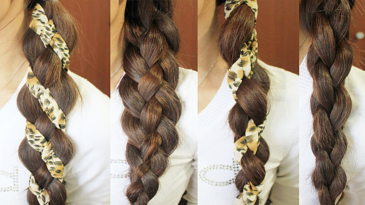 Well Known 3D Mermaid Plait Braid Hairstyles In How To: 4 Strand Braid Wrap Around Scarf Hairstyle (View 18 of 20)