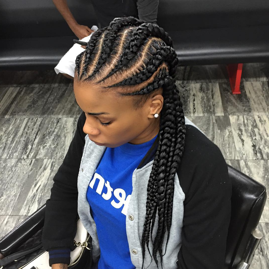 Well Known Angled Cornrows Hairstyles With Braided Parts Intended For African Braids: 15 Stunning African Hair Braiding Styles And (Gallery 9 of 20)