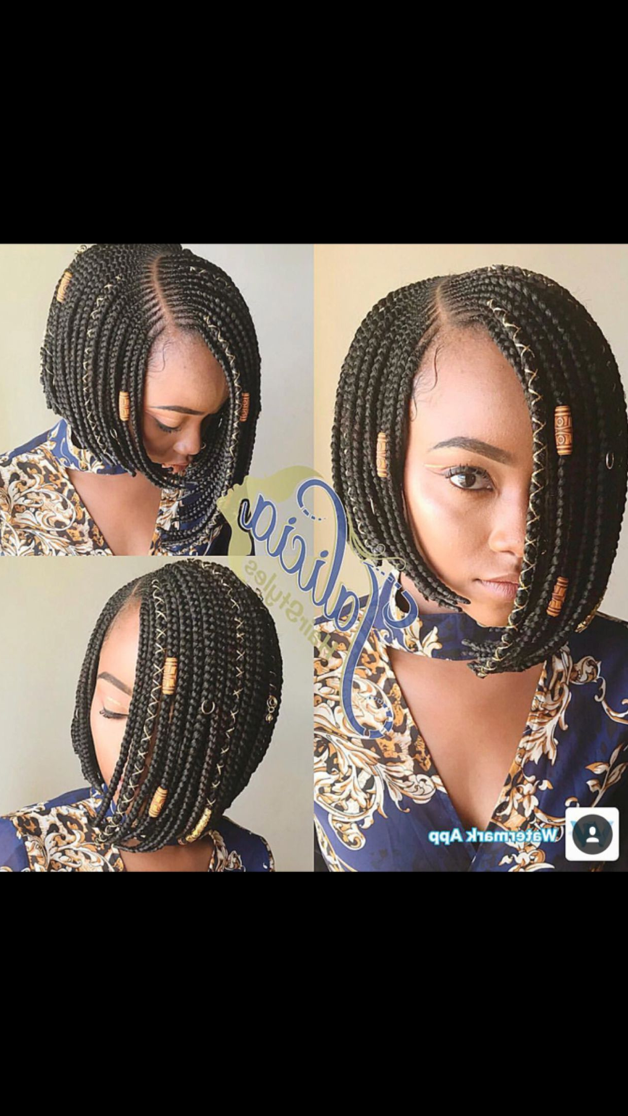 Well Known Bob Braid Hairstyles With A Bun Throughout Hairstyles : Curvy Ghana Braids With Crown Bun Inspiring Bob (View 4 of 20)