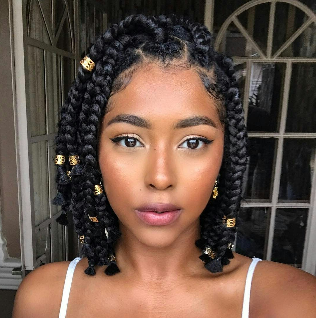 Well Known Bob Braid Hairstyles With Bangs Intended For Hairstyles : Good Looking Black Braid Styles With Bangs For (Gallery 8 of 20)