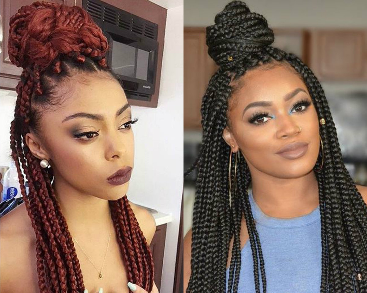 Well Known Box Braided Bun Hairstyles With Half Up Half Down Box Braids Bun Hairstyles (Gallery 9 of 20)