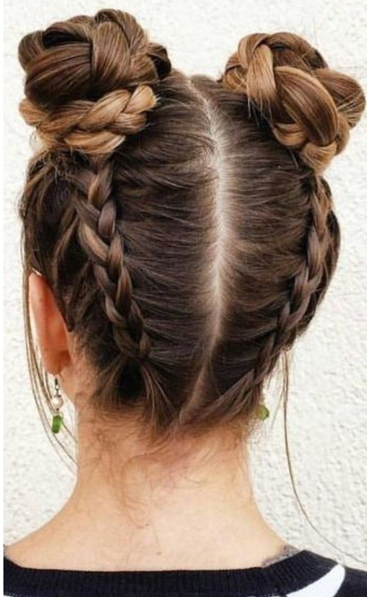 Well Known Braided Space Buns Updo Hairstyles Pertaining To 2 Braided Space Buns! Easy And Awesome! (View 17 of 20)