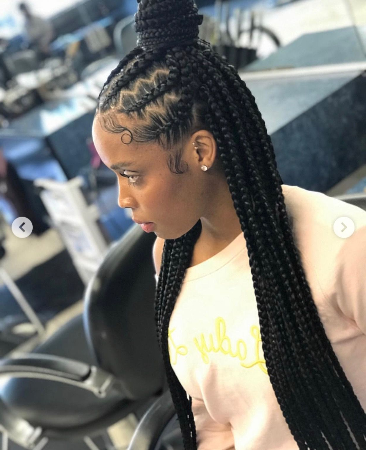 Well Known Dookie Braid Hairstyles In Half Up Pony With Regard To Different Look On Half Up, Half Down Feed In With Box Braids (View 4 of 20)