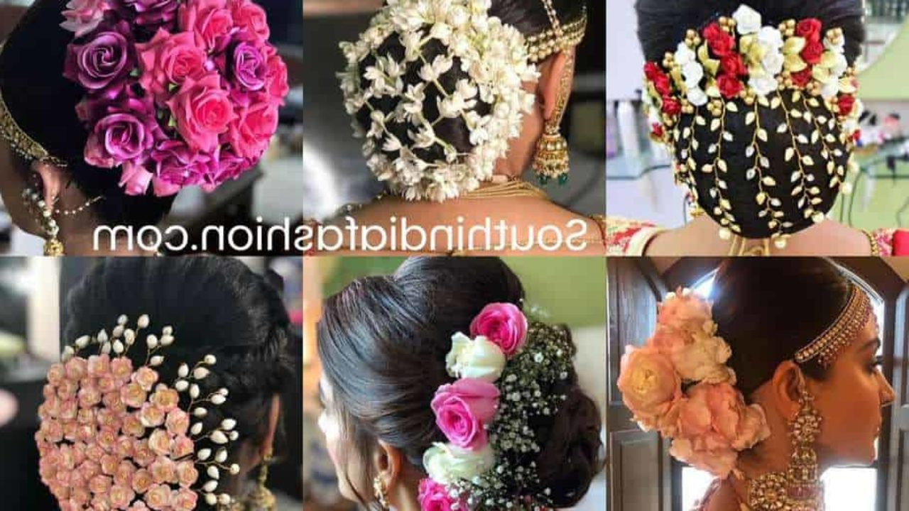 Well Known Floral Bun Updo Hairstyles With Indian Wedding Bun Hairstyle With Flowers And Gajra! (View 12 of 20)
