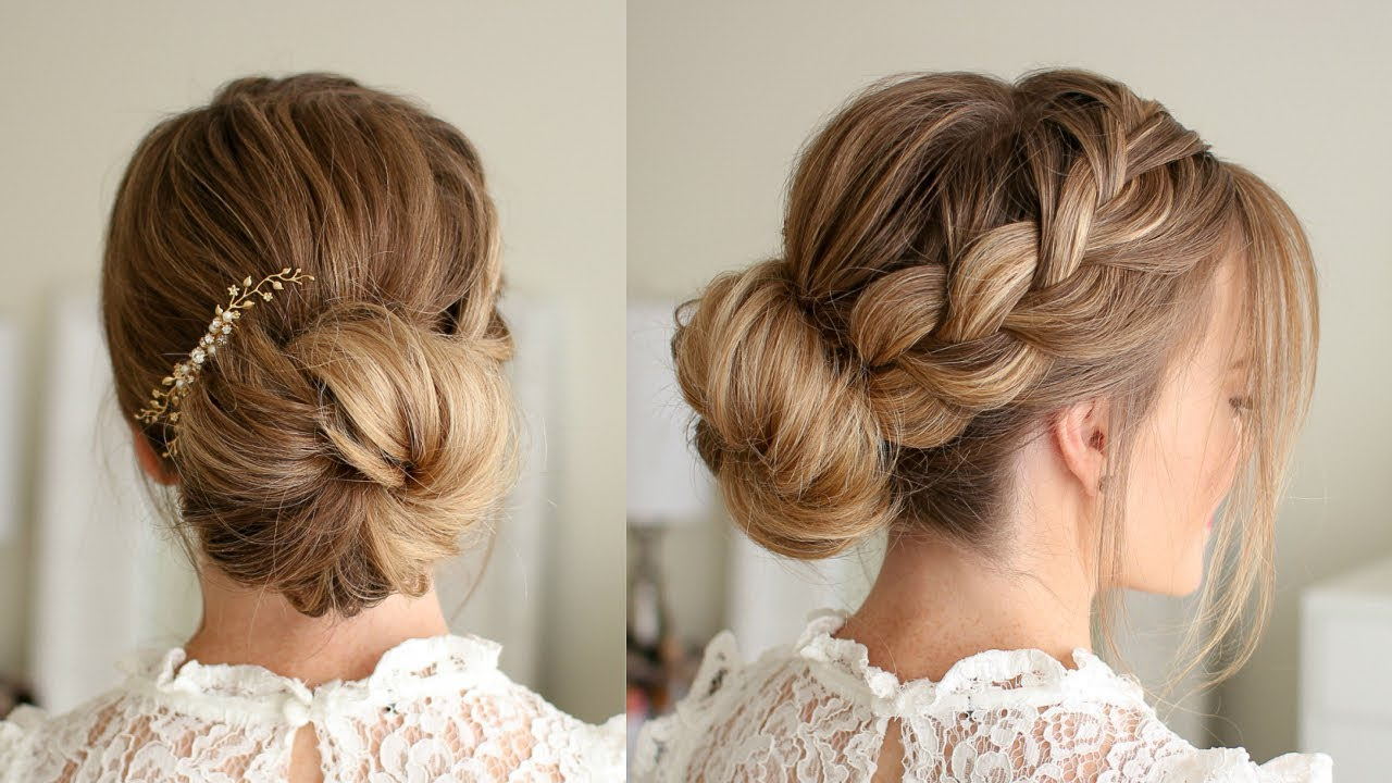 Well Known French Braid Buns Updo Hairstyles With French Braid Low Bun (Gallery 16 of 20)
