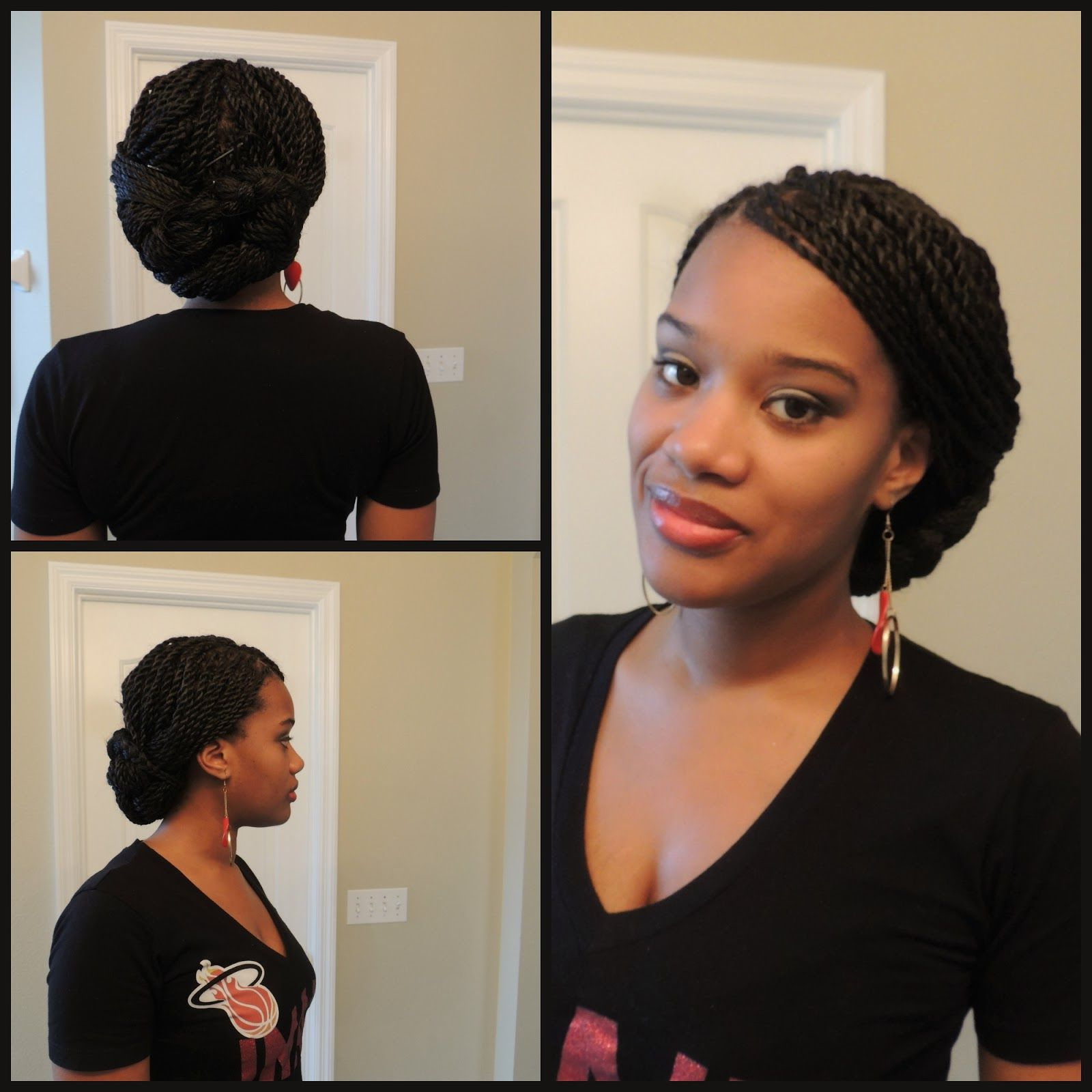 Well Known Natural Protective Bun Micro Braid Hairstyles Pertaining To Senegalese Twist (briaded Low Bun) (View 5 of 20)
