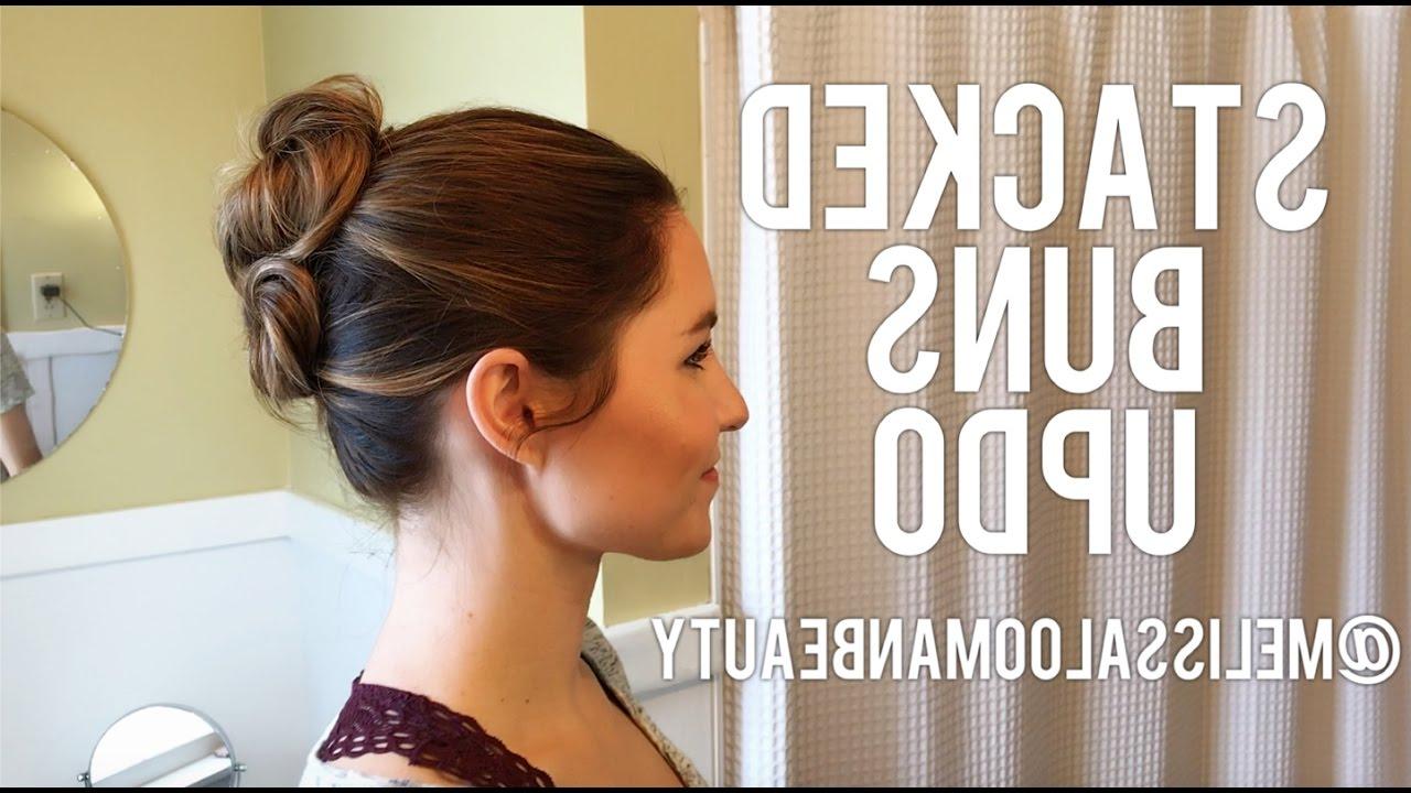 Well Known Stacked Buns Updo Hairstyles In Easy Stacked Buns Updo (View 3 of 20)
