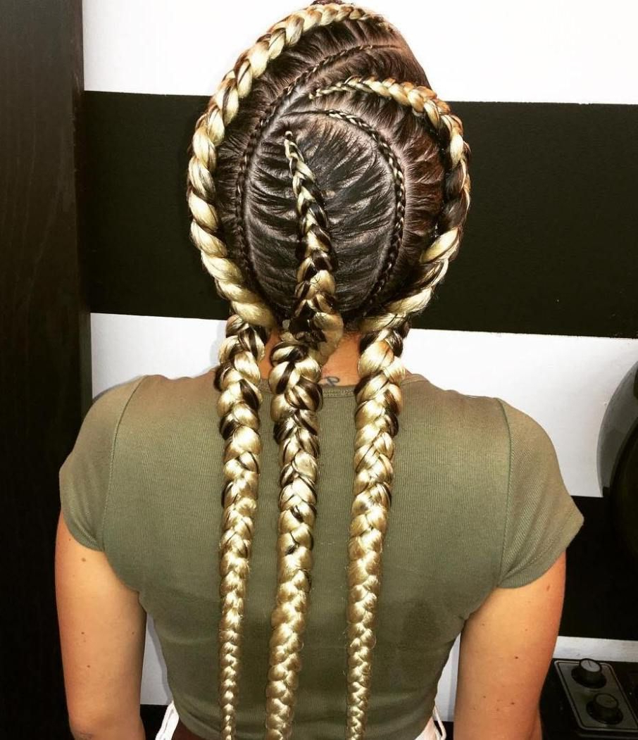 Well Liked Blonde Asymmetrical Pigtails Braid Hairstyles With 20 Totally Gorgeous Ghana Braids For An Intricate Hairdo In (Gallery 1 of 20)