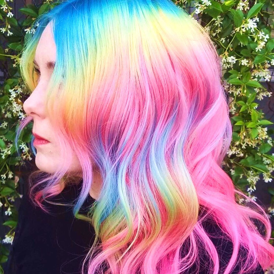 Well Liked Cotton Candy Colors Blend Mermaid Braid Hairstyles Throughout 23 Visually Stimulating Cotton Candy Hair Color Ideas #color (View 19 of 20)