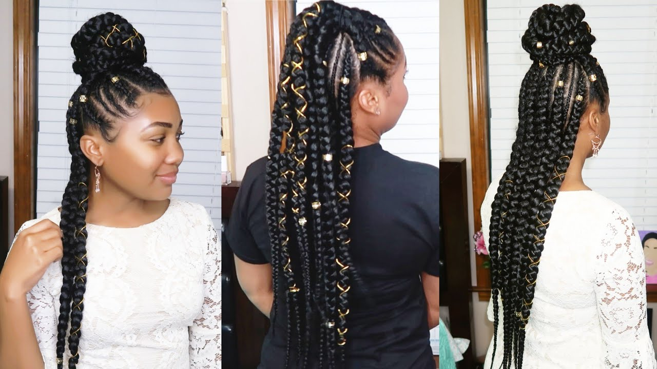 Well Liked Dookie Braid Hairstyles In Half Up Pony Within Half Up Half Down Feed In Braids (View 2 of 20)