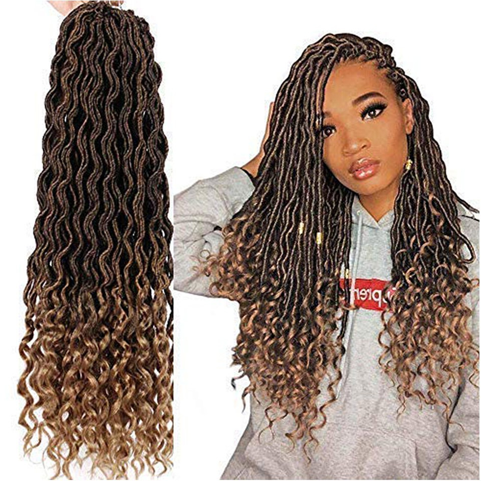 Well Liked Light Brown Braid Hairstyles Intended For Crochet Braiding Hair 1pcs/lot Goddess Faux Locs 20 Inch Deep Wave Braiding Hair With Curly Ends Black Mixed Light Brown Heat Resistant Synthetic Hair (Gallery 9 of 20)