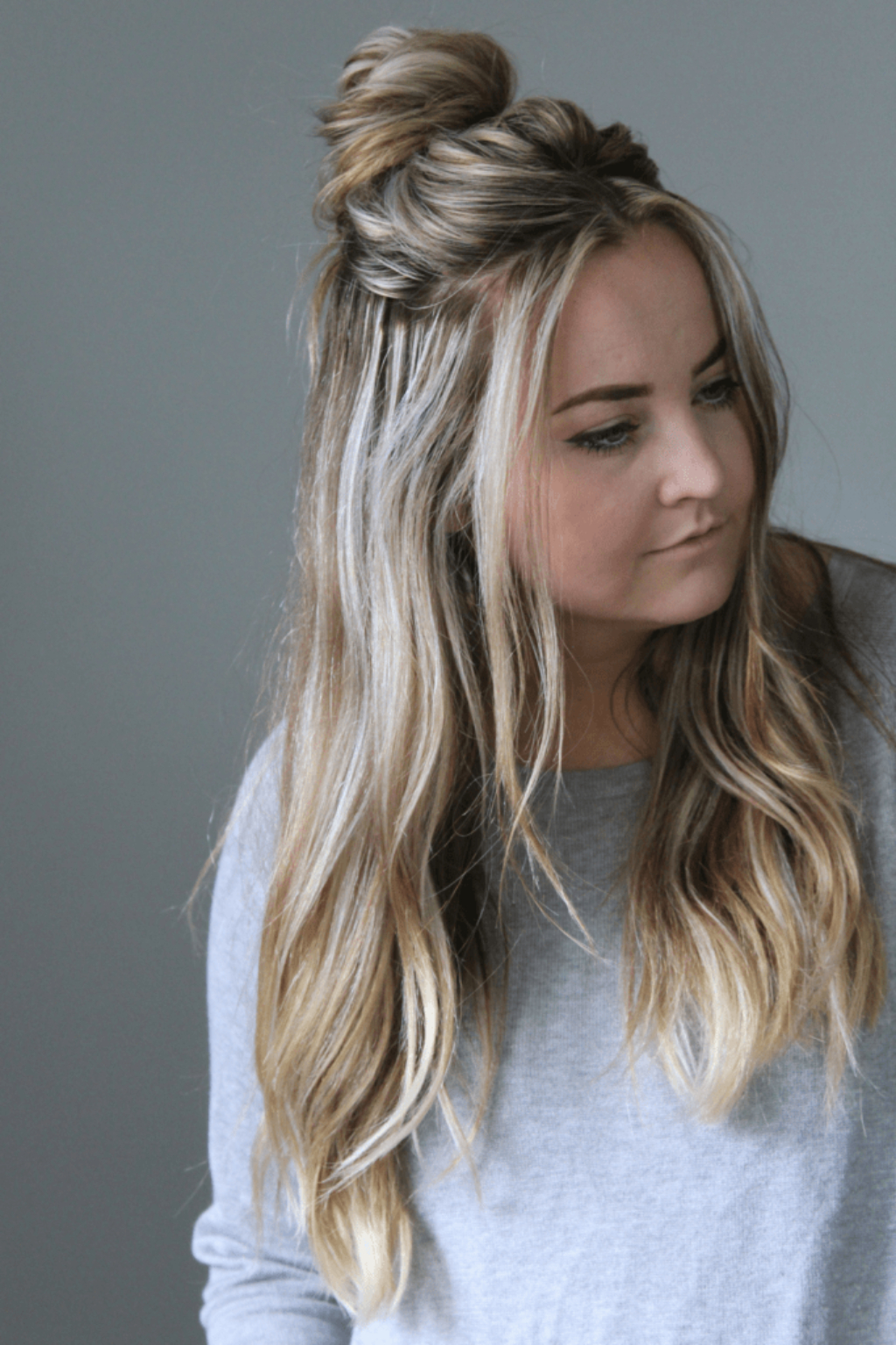 Well Liked Simple Half Bun Hairstyles Intended For Quick 2 Minute Half Up Messy Bun Tutorial – Cassie Scroggins (View 12 of 20)