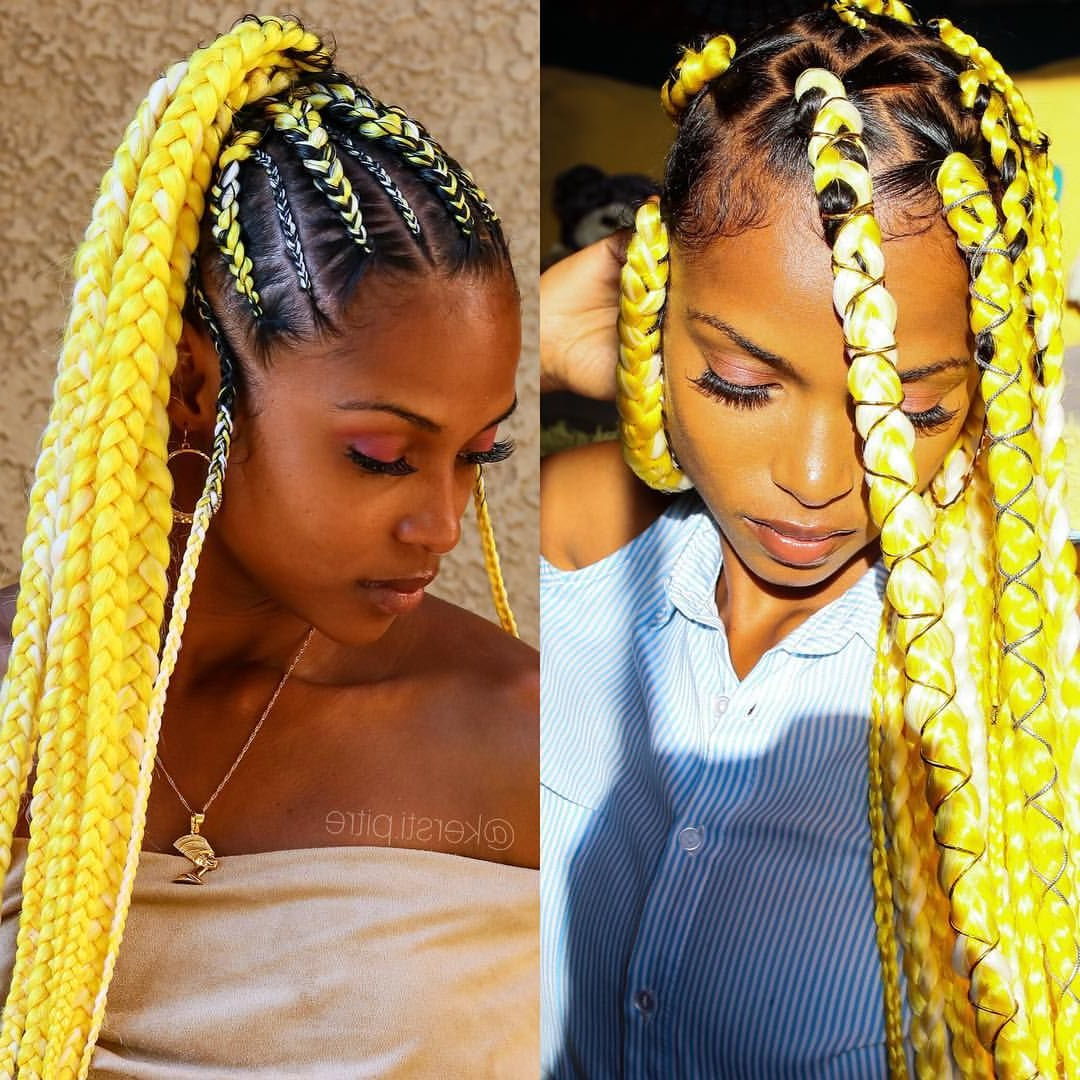Which Yellow Braidstyle Was Your Fav? Box Braids Or Ponytail Pertaining To Favorite Blonde Ponytail Hairstyles With Yarn (Gallery 19 of 20)
