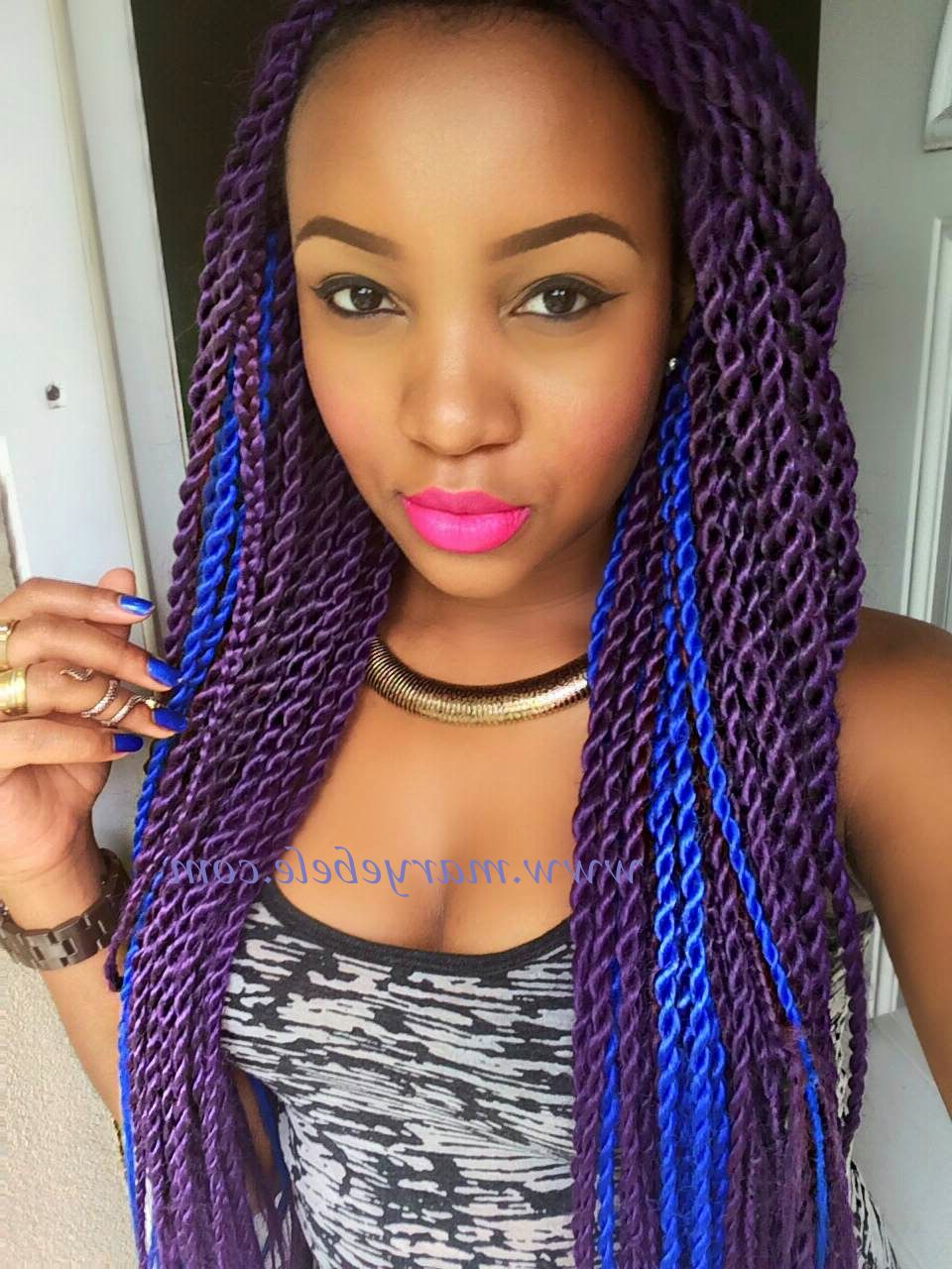 Widely Used Black Twists Micro Braids With Golden Highlights Pertaining To Purple & Blue Braids. Peace, Love & Unicorns.(marley Twists (Gallery 18 of 20)