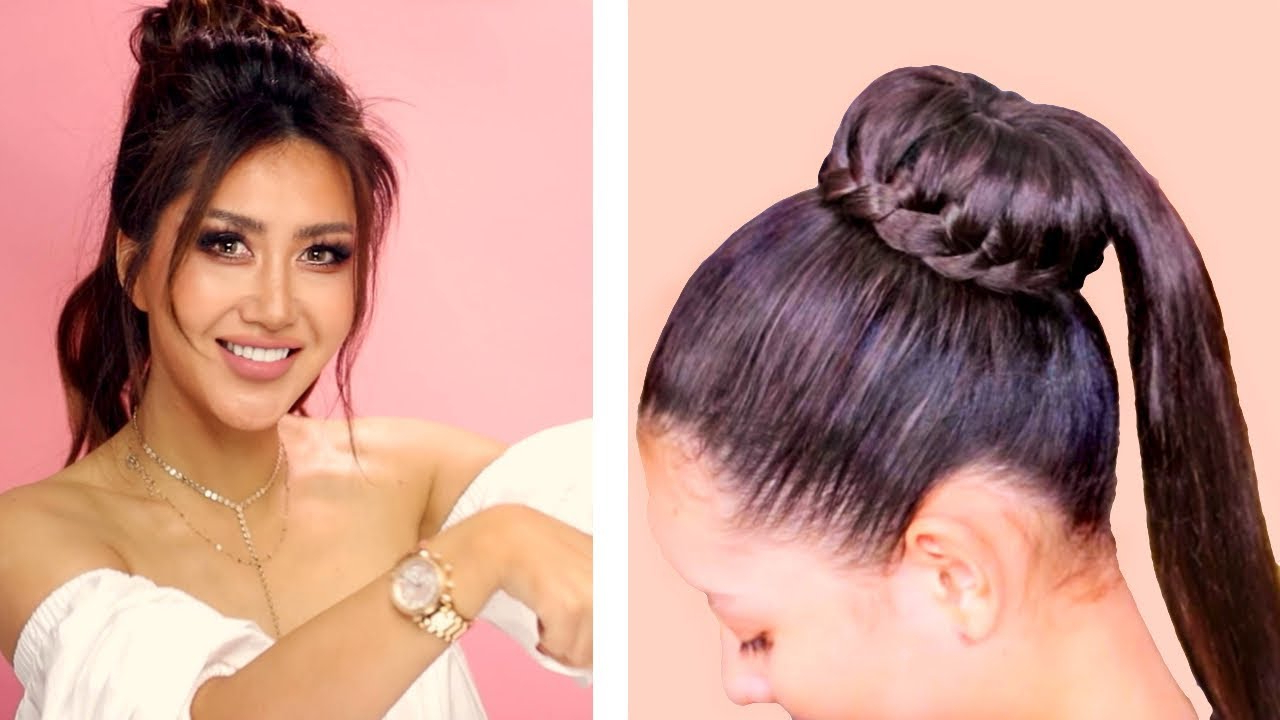 Widely Used Braided Ponytails Updo Hairstyles Regarding ★ Braided Bun Into Puff Ponytail 💗 Cute Everyday Hairstyles 💗 Braids Updo For Long 💗 Medium Hair (View 19 of 20)