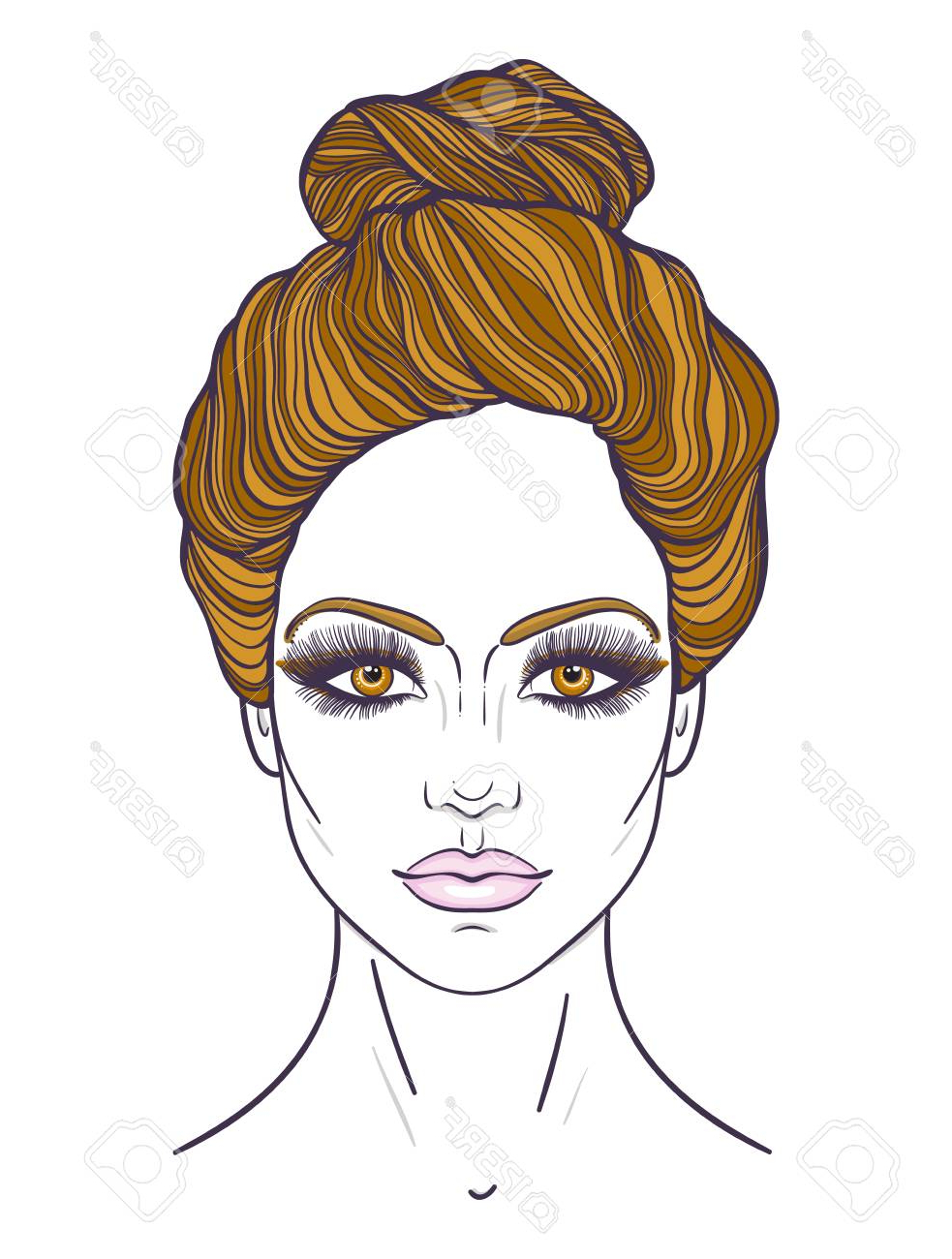 Widely Used Decorative Topknot Hairstyles With Regard To Stock Illustration (View 4 of 20)