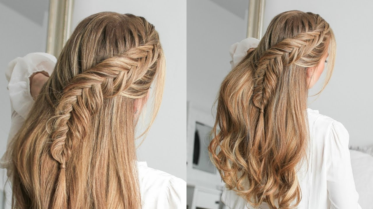 Widely Used Double Half Up Mermaid Braid Hairstyles Throughout Half Up Dutch Fishtail Braid (Gallery 14 of 20)