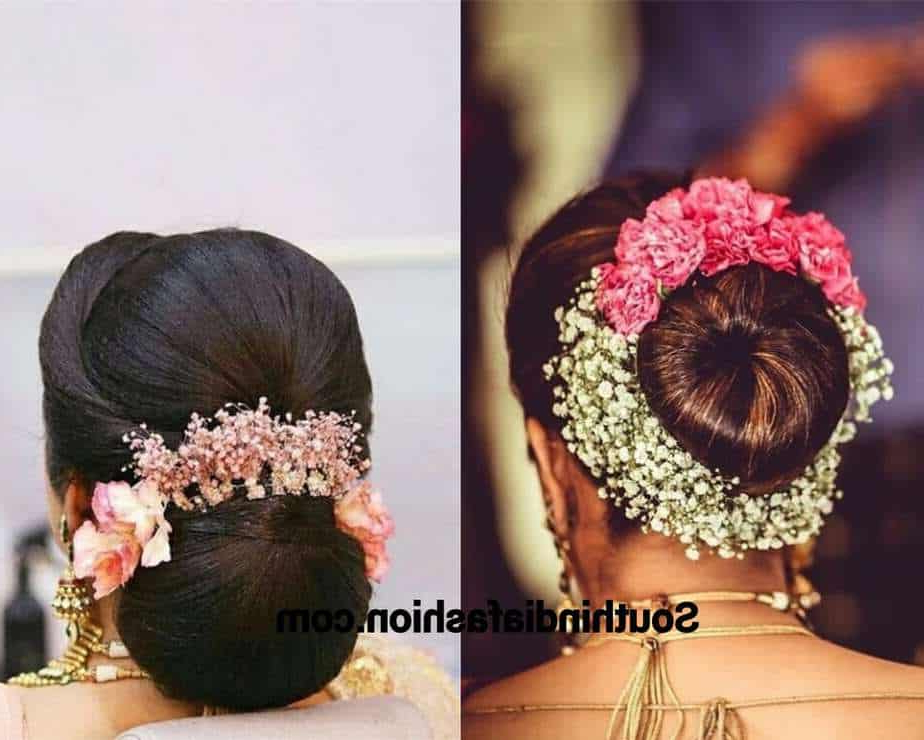 Widely Used Floral Bun Updo Hairstyles For Indian Wedding Bun Hairstyle With Flowers And Gajra! (Gallery 19 of 20)