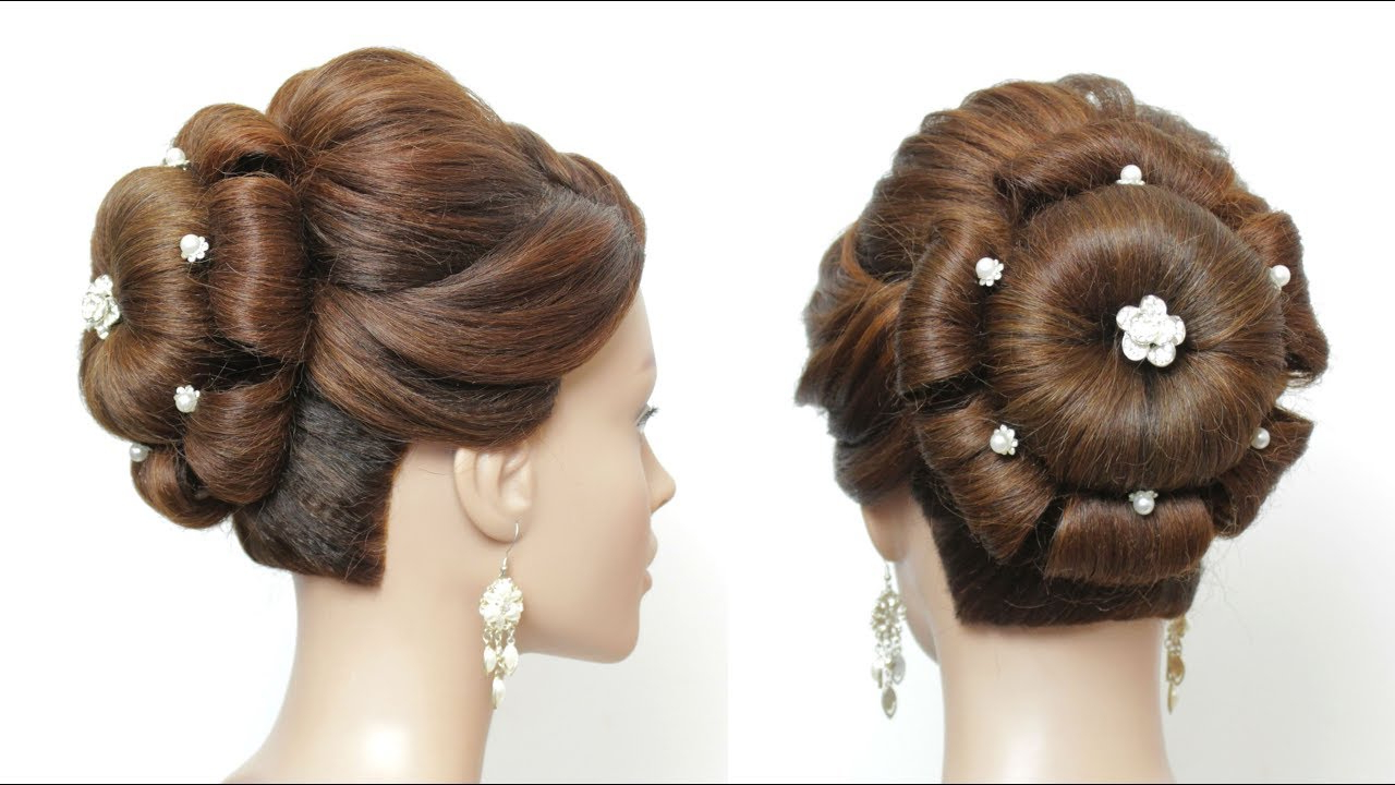 Widely Used Floral Bun Updo Hairstyles Intended For New Flower Bun Hairstyle For Long Hair (View 3 of 20)