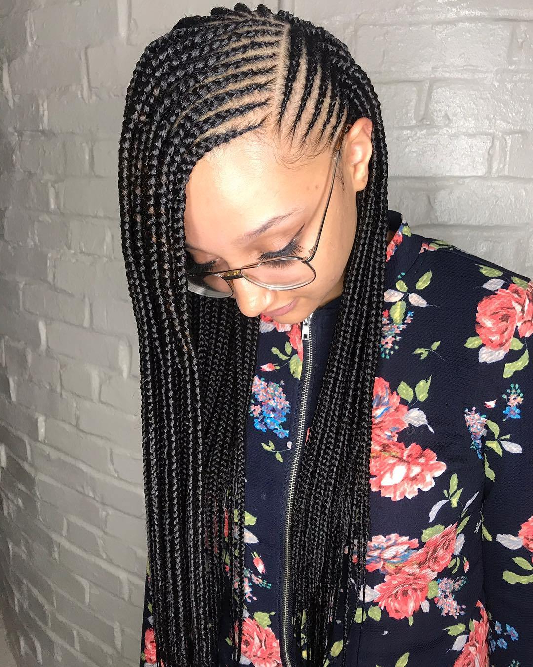 Widely Used Full Scalp Patterned Side Braided Hairstyles Intended For 25 Charming Lemonade Braids To Rock Your Appearance (View 20 of 20)