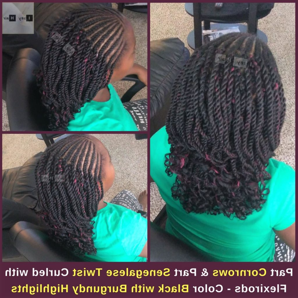 Widely Used Side Parted Micro Twist Hairstyles Pertaining To Part Cornrows And Part Senegalese Twist Curled With (View 14 of 20)