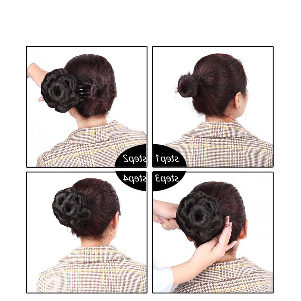 Women Clip In Hairpiece Extensions Curly Hair Synthetic Chignon Plastic Combs Elastic Bride Bun Hairstyles Updo With Regard To Best And Newest Tipped Box Braid Spiral Bun Hairstyles (View 16 of 20)