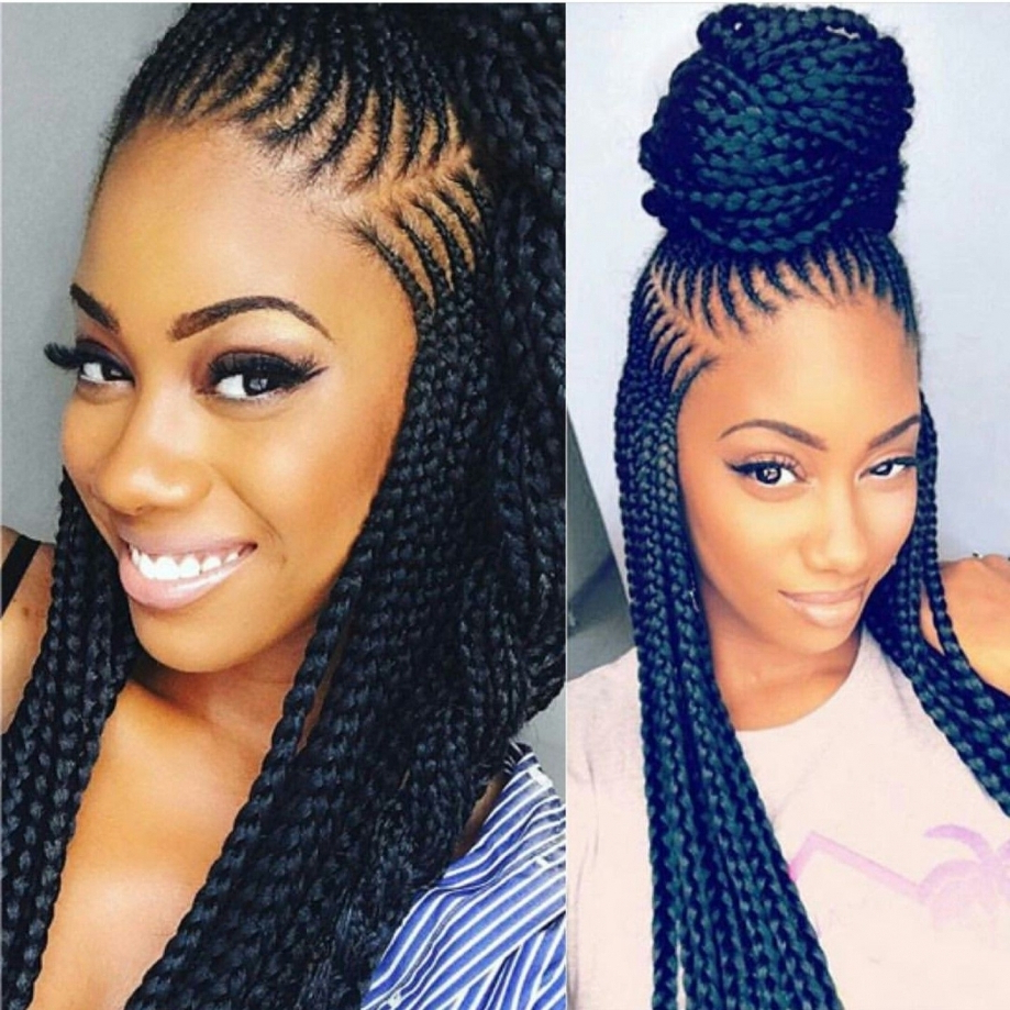 Women Hairstyle : Surprising Black Braided Hairstyles Inside Most Recent Braid Hairstyles With Braiding Bangs (View 13 of 20)