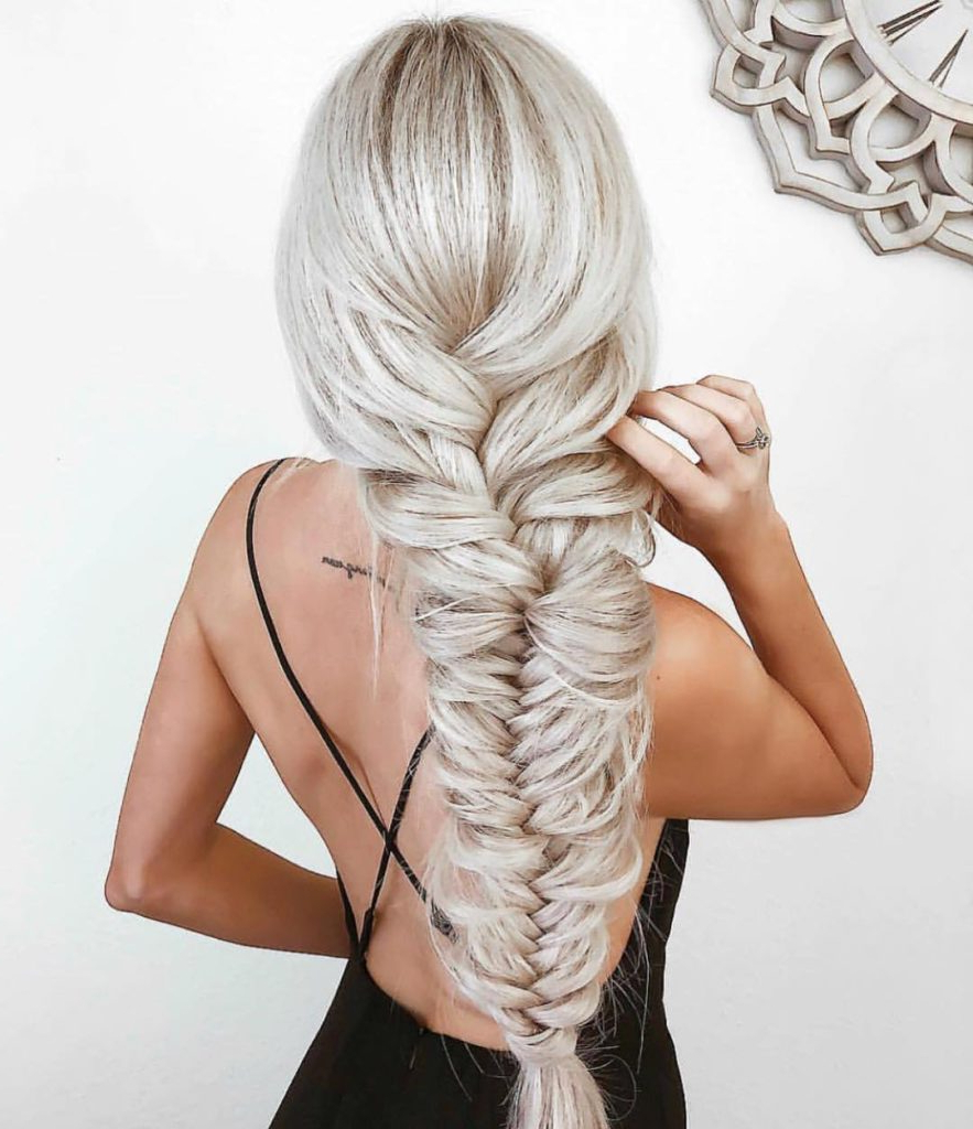 Women's Loose Boho Chic Fishtail Braid On Long Platinum Pertaining To Popular Long Blonde Braid Hairstyles (View 3 of 20)