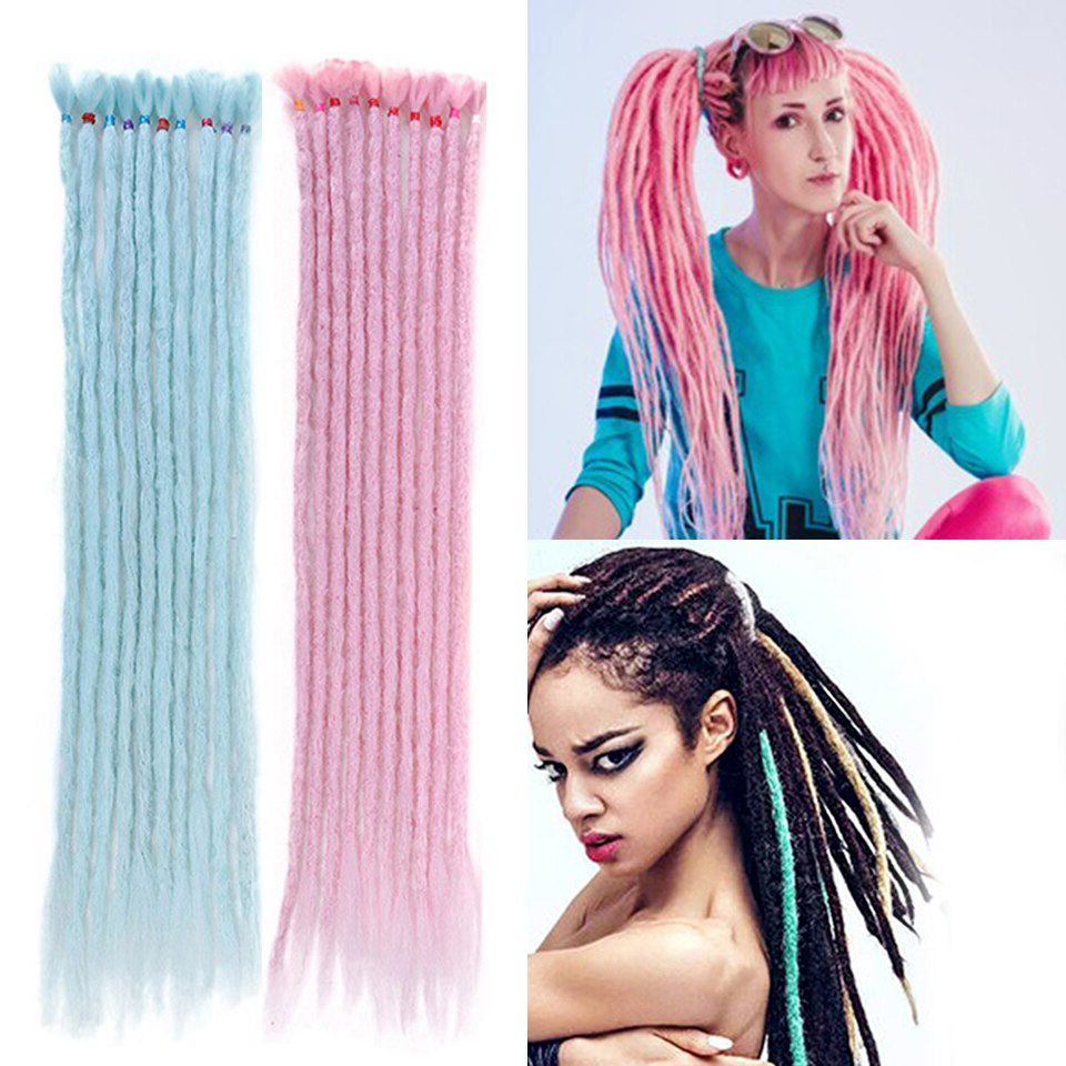 Wtb 1 10pcs/lot Synthetic Handmade Dreadlocks Braids Black Intended For Fashionable Long Braids With Blue And Pink Yarn (Gallery 11 of 20)