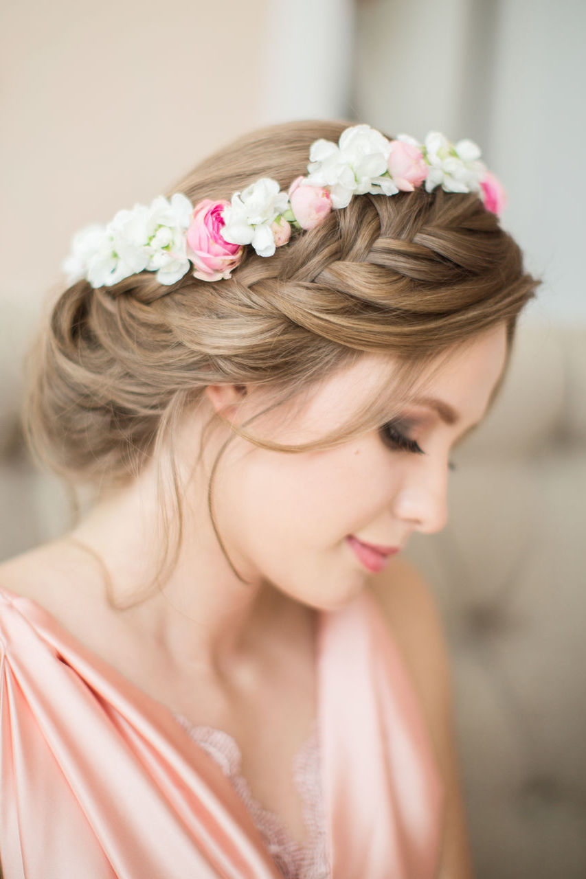 Www.hottesthaircuts/wp Content/uploads/2019/04 With Most Up To Date Traditional Halo Braided Hairstyles With Flowers (Gallery 3 of 20)