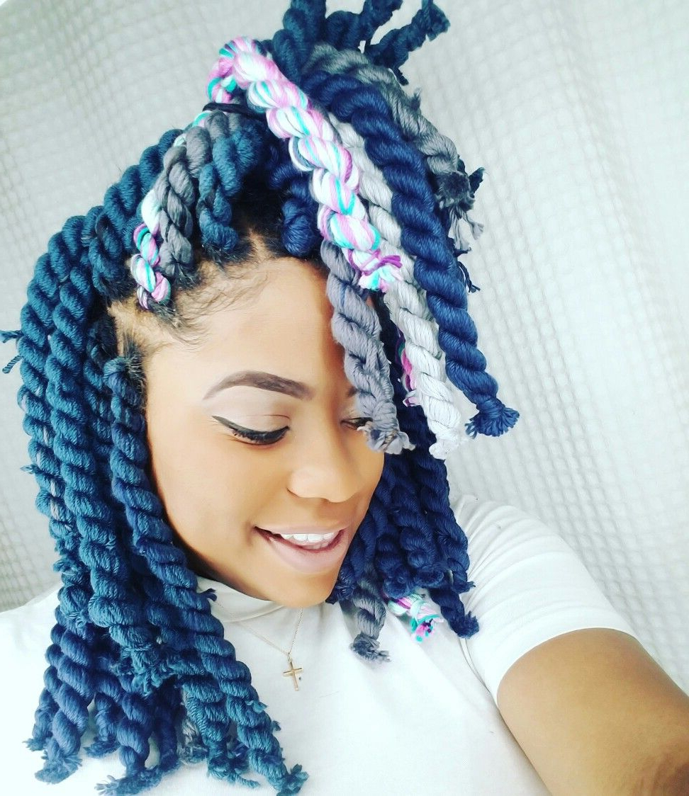 Yarn Braids Blue Yarn Braids Colorful Yarn Braids Box Braids Within Most Current Colorful Yarn Braid Hairstyles (Gallery 5 of 20)