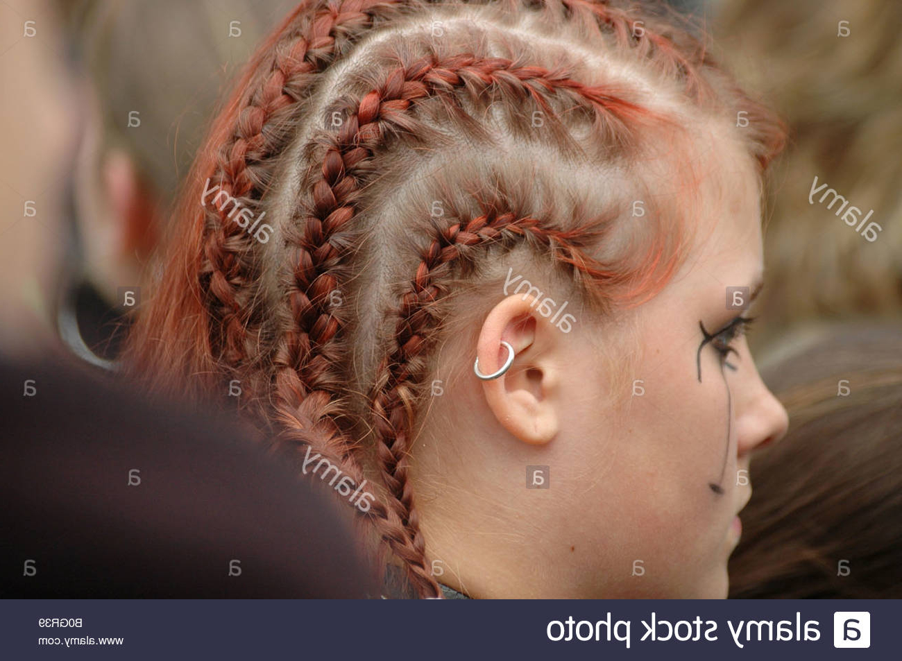 Young Teenage Girl With Extravagant Punk Hairstyle And Red Intended For Most Popular Extravagant Under Braid Hairstyles (View 17 of 20)