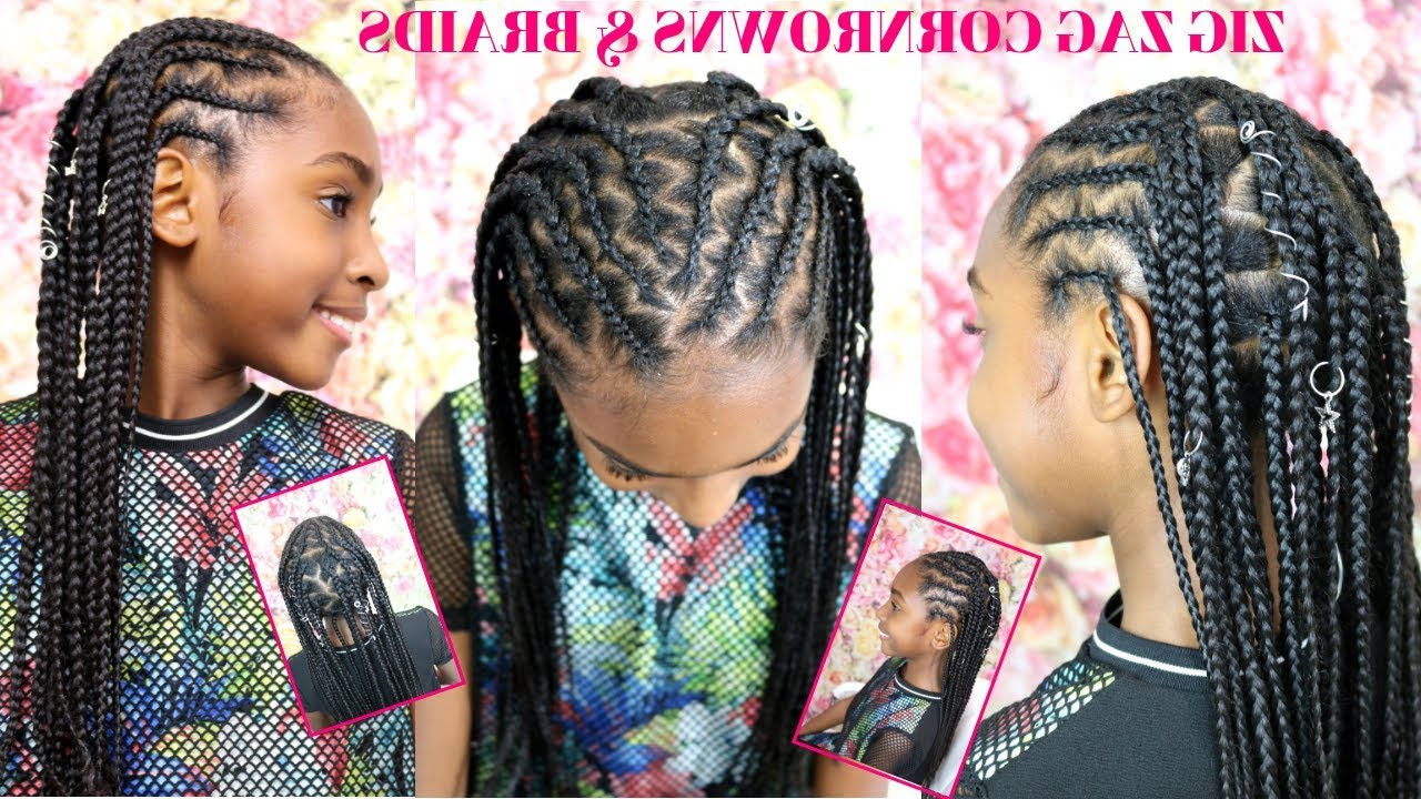 Zig Zag Braided Cornrows Tutorial Pertaining To Well Known Zig Zag Cornrows Braided Hairstyles (Gallery 4 of 20)