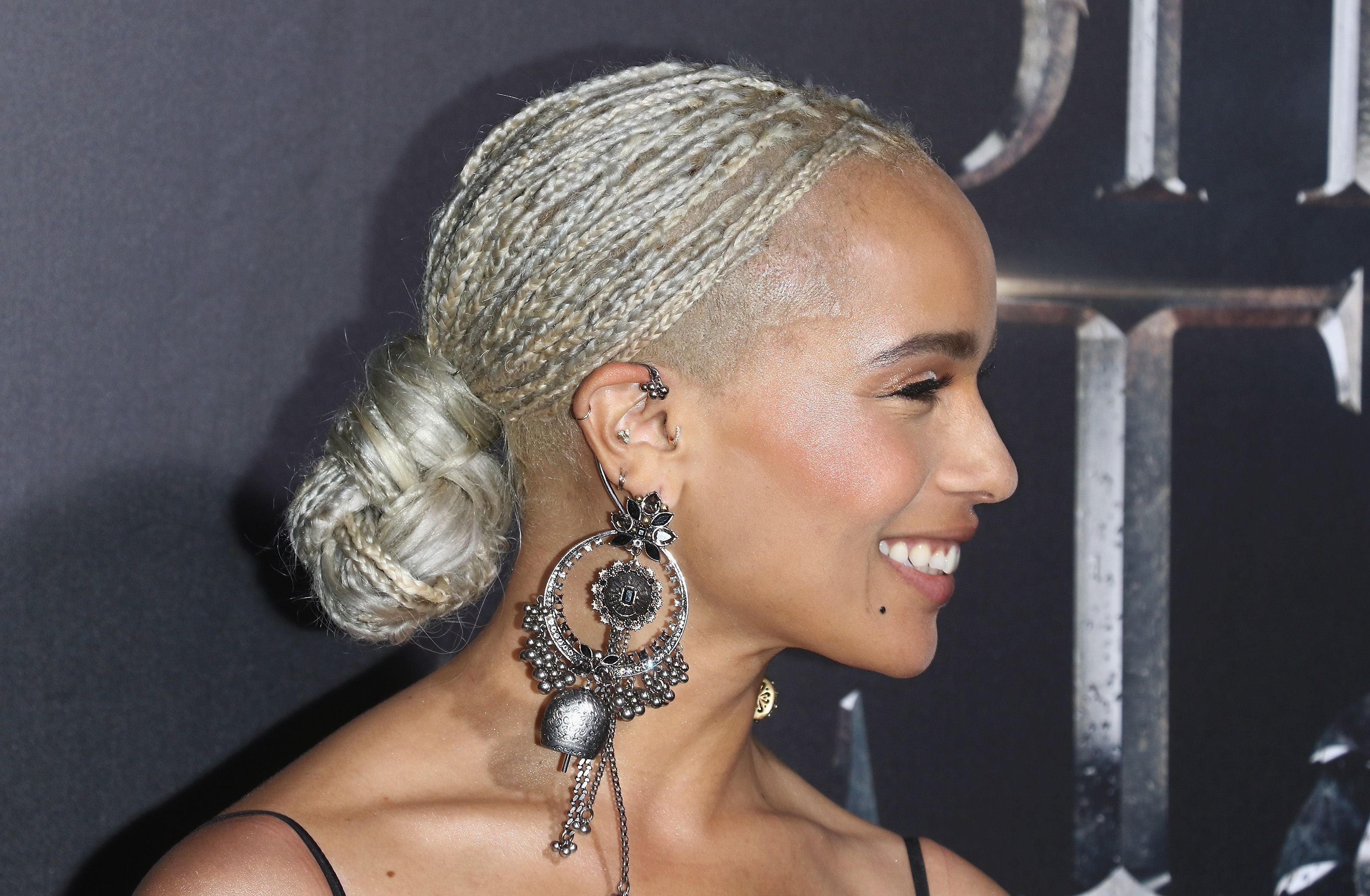 Zoe Kravitz Debuts Platinum Braids – Essence Inside Widely Used Shaved Platinum Hairstyles With Micro Braids (View 12 of 20)