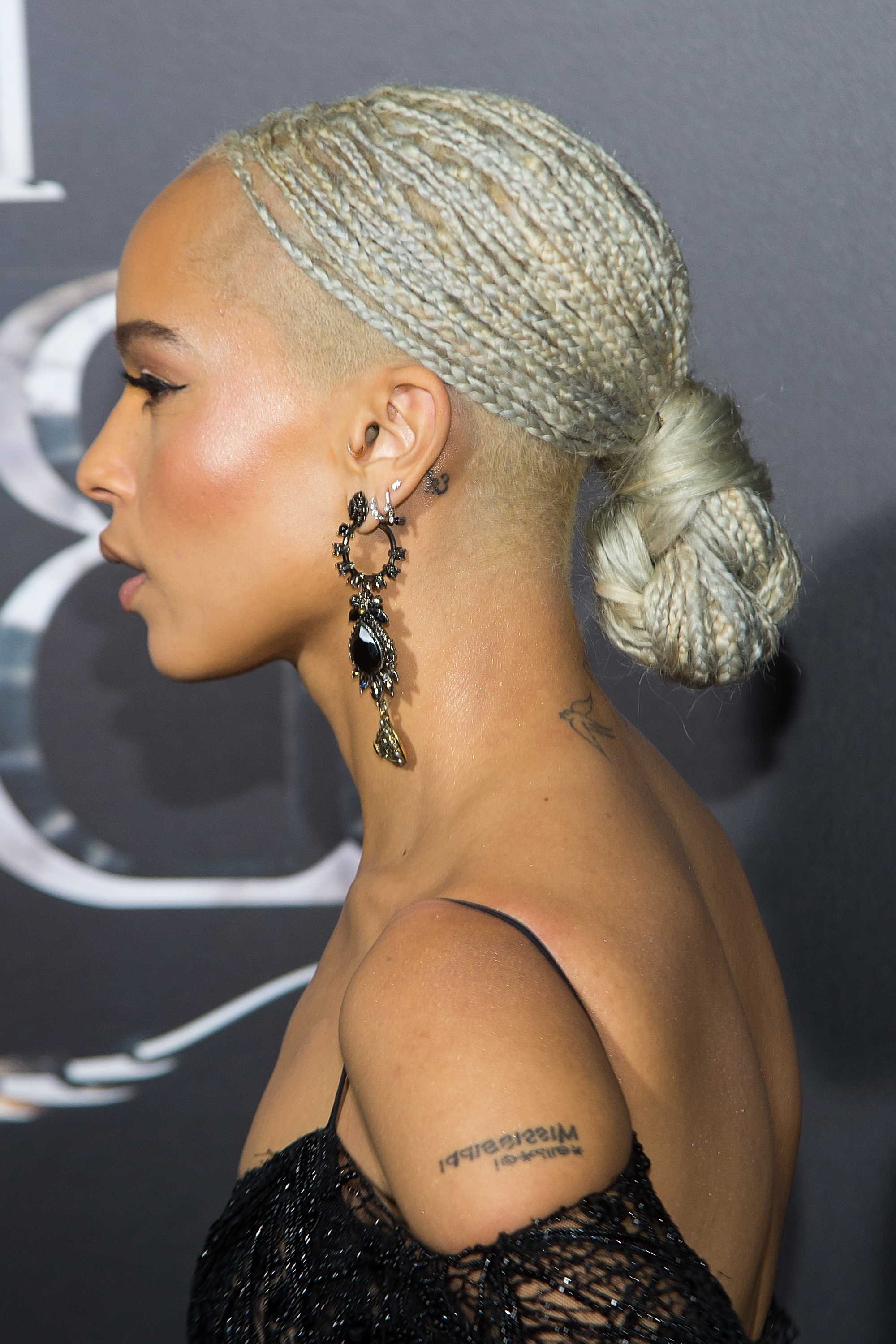 Zoe Kravitz Debuts Platinum Braids – Essence Pertaining To Favorite Shaved Platinum Hairstyles With Micro Braids (Gallery 8 of 20)