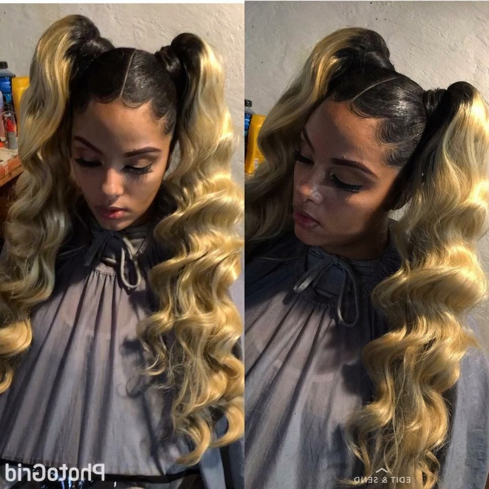 2019 Straight Side Ponytail Hairstyles With Center Part Intended For Follow For More Popping Pins Pinterest : @princessk (View 14 of 20)