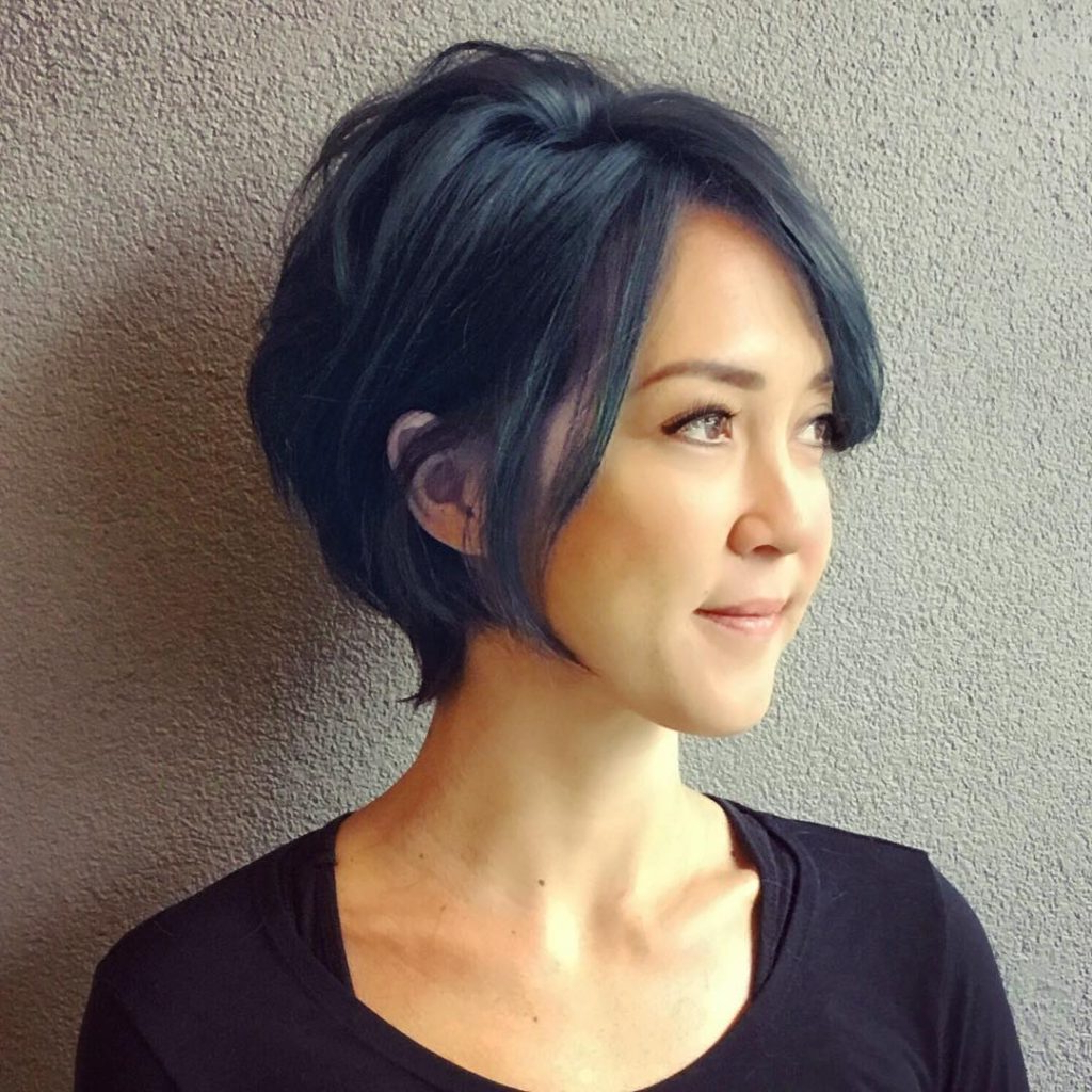 2020 Messy Short Bob Hairstyles With Side Swept Fringes In Women's Inverted Razor Cut Bob On Smoky Blue Black Hair With (View 3 of 20)