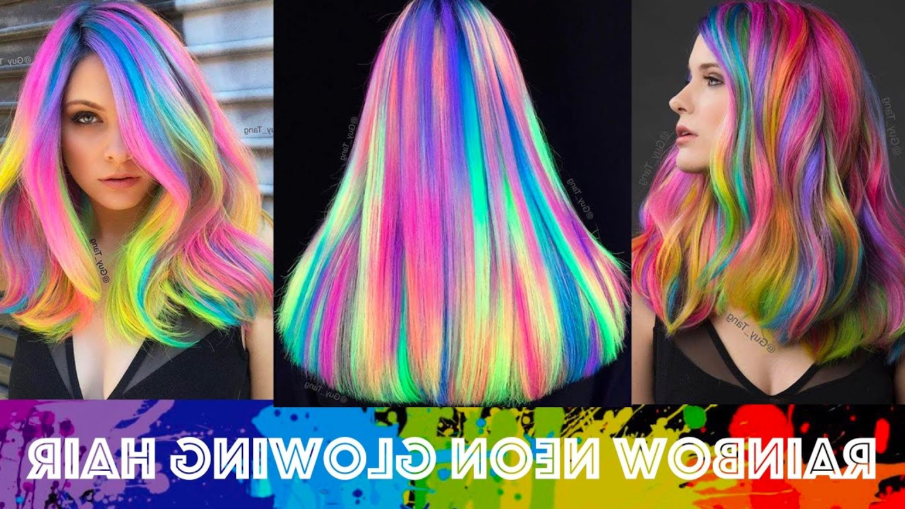 2020 Neon Long Asian Hairstyles With Regard To Rainbow Neon Glowing Hair (View 18 of 20)