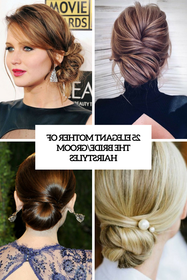 25 Elegant Mother Of The Bride/groom Hairstyles – Weddingomania With Latest Elegant Messy Updos With Side Bangs (View 6 of 20)
