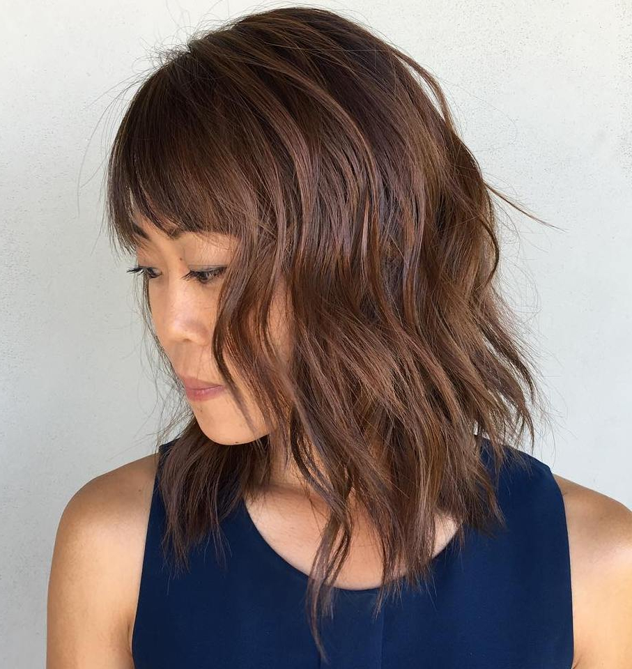30 Modern Asian Girls' Hairstyles For 2019 For Best And Newest Shaggy Lob Hairstyles With Bangs (View 16 of 20)