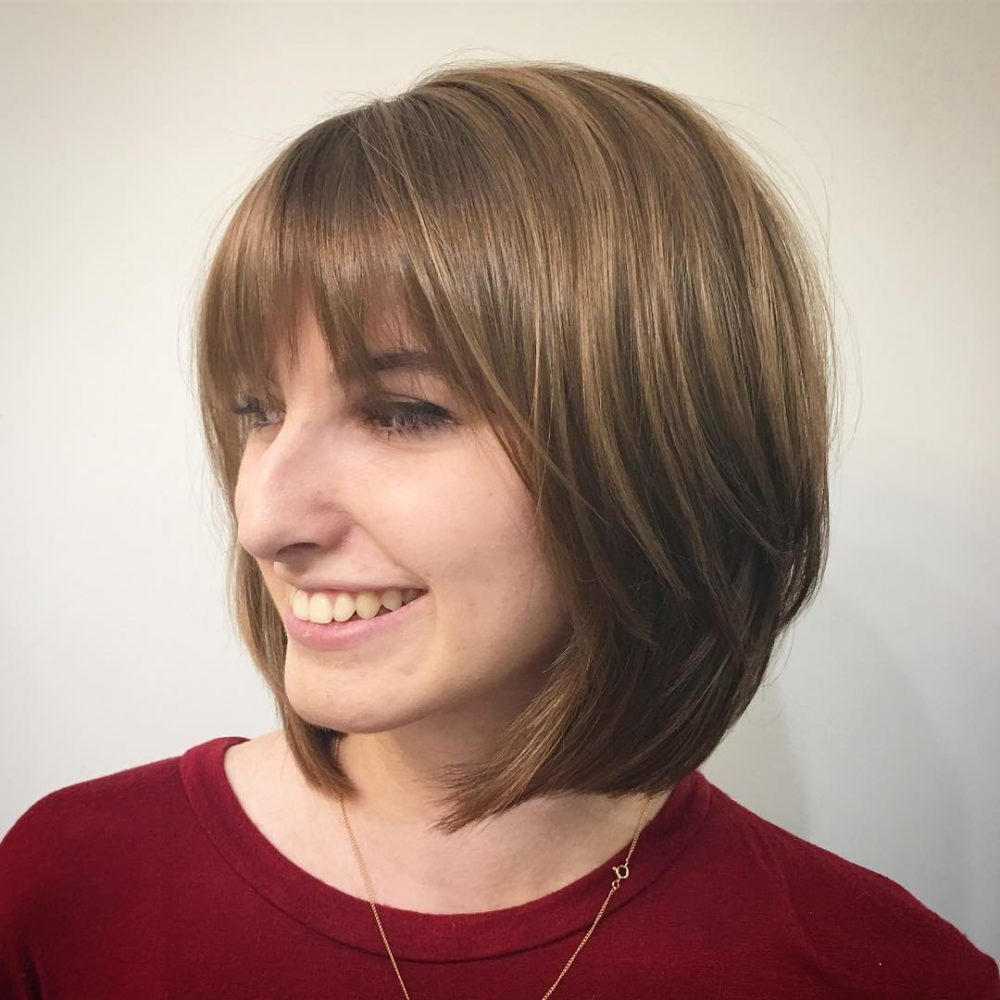 46 Bob With Bangs Hairstyle Ideas Trending For 2019 Inside Fashionable Classic Bob Hairstyles With Side Part (View 5 of 20)